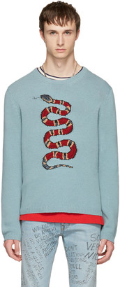 Gucci Blue Snake & Lightning Sweater $890 thestylecure.com