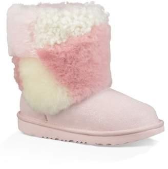 UGG Classic Short Patchwork Genuine Sheepskin Fluff Boot (Toddler & Little Kids)