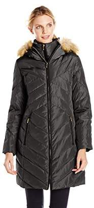 Jones New York Women's Down Coat with Faux Fur-Trimmed Hood $22.45 thestylecure.com