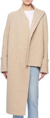 Victoria Beckham Victoria Attached Scarf Deep-Cuff Wool-Blend Short Coat