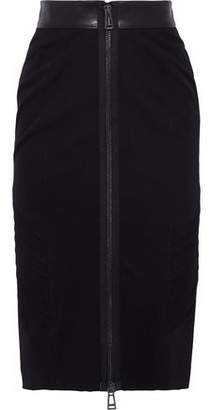 Belstaff Leather-Trimmed Pleated Wool-Canvas Skirt