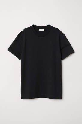 H&M Silk-blend Jersey Top - Black