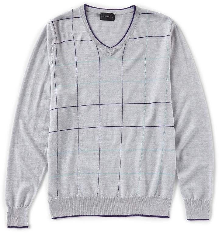 Bobby Jones Deco Grid V-Neck Sweater