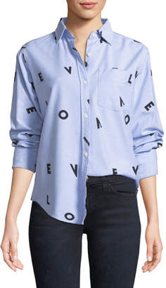 Current/Elliott The Derby LOVE Button-Down Shirt w/ Love Print