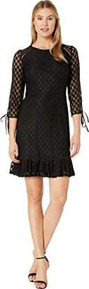 Nine West Women's 3/4 Sleeve Lace Dress with Pleated Skirt