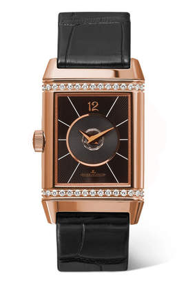 Jaeger-LeCoultre Reverso Classic Duetto 24.4mm Medium Rose Gold, Alligator And Diamond Watch