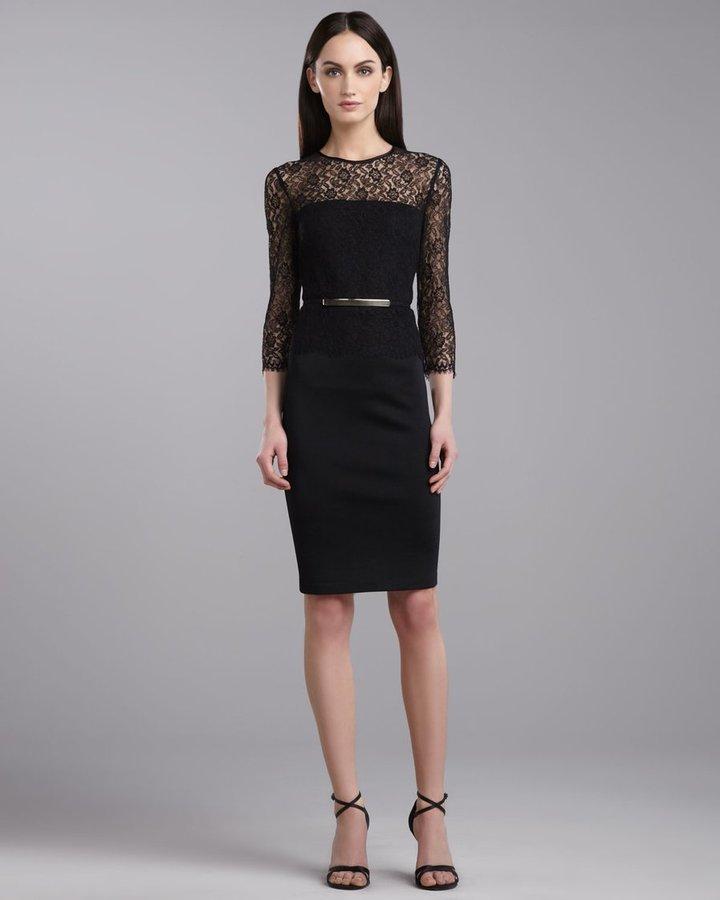 St. John Milano Lace Jewel-Neck Dress, Caviar