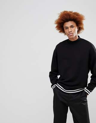 Asos Sweatshirt With Turtleneck And Tipping In Black
