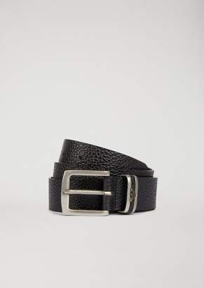 Emporio Armani Dollar Print Leather Belt