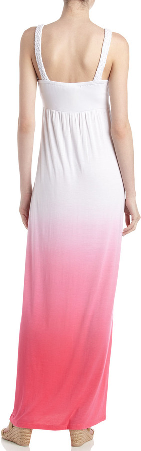 Neiman Marcus Braided Ombre Maxi Dress, Pretty Pink