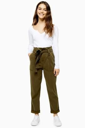 Topshop Womens Petite Paperbag Utility Cargo Trousers - Khaki