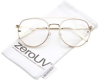 Zerouv Modern Slim Brow Bar Rimless Clear Round Flat Lens Aviator Eyeglasses 59mm (Gold/Clear)