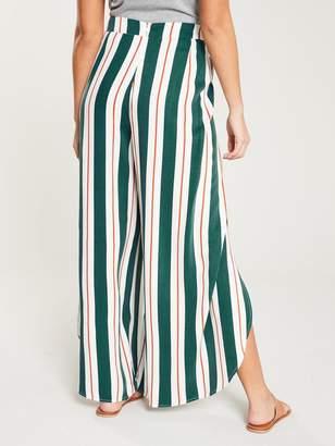 NATIVE YOUTH Erykah Tie Waist Curve Hem Stripe Wide Pants - Multi