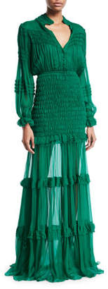 Alexis Sinclair Smocked Ruffle Button-Front Dress