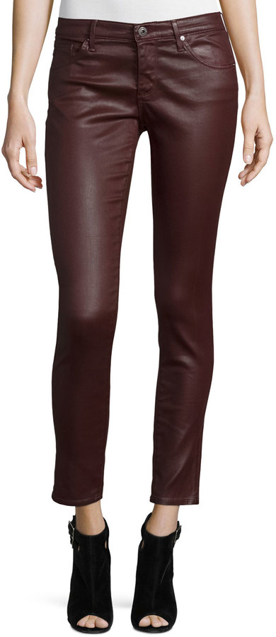 AG JeansAG Adriano Goldschmied Leatherette Ankle Leggings, Wine