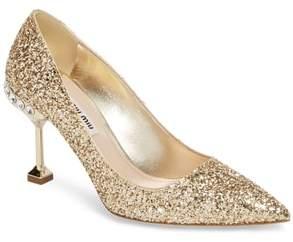 Miu Miu Jeweled Heel Glitter Pump