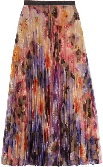 Christopher KaneChristopher Kane - Pleated Printed Lace Midi Skirt - Lilac