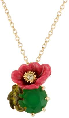 Les Nereides DAZZLING DISCRETION LARGE PINK FLOWER WITH GREEN STONE SHORT NECKLACE - Green - O/S