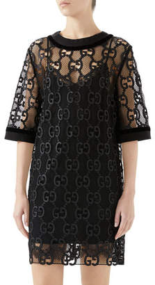 Gucci Elbow-Sleeve GG Leather Macrame Netted Lace Boxy Dress