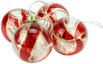 Asstd National Brand Set of 4 Battery Operated Red and Gold Swirl GlassBall LED Lighted Christmas Ornaments