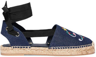 Roger Vivier Embroidered Denim Espadrilles - Dark denim