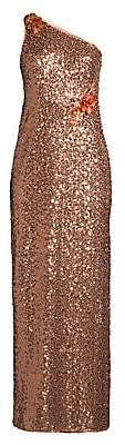 Aidan Mattox Women's One Shoulder Shimmer Gown - Size 0