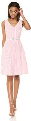 Nine West Women's Seersucker Dress with Tassle Belt