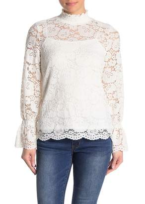 Adrianna Papell Lace Mock Neck Top