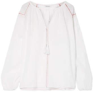 Mes Demoiselles Findus Embroidered Fil Coupé Cotton Blouse - White