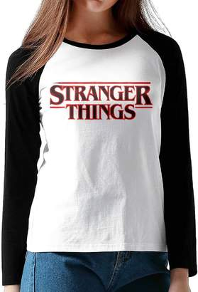 Hane Sea Women's Stranger Things Long Sleeve Neck T-Shirt Contrast Color