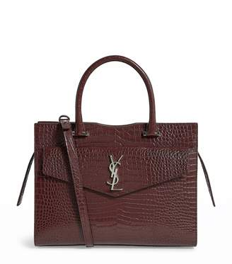 Saint Laurent Medium Croc-Embossed Leather Uptown Tote Bag