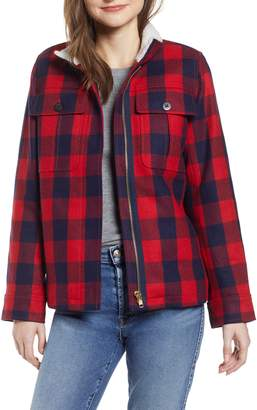 J.Crew Buffalo Check Workwear Jacket with Faux Shearling Lining