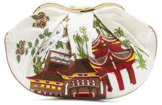 Kilometre Paris - Chengdu And Kunming Embroidered Linen Clutch - Womens - White Multi