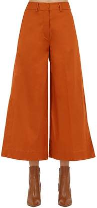 L'Autre Chose Wide Leg Cotton Twill Cropped Pants