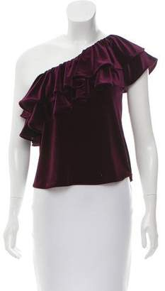 MISA Los Angeles Velvet Ruffle-Trimmed Top w/ Tags