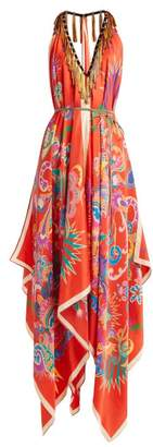 Etro Tassel Trim Halterneck Silk Midi Dress - Womens - Red