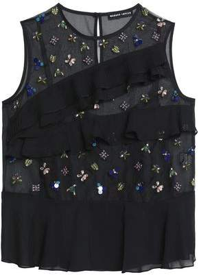 Markus Lupfer Ruffled Embellished Embroidered Organza Top
