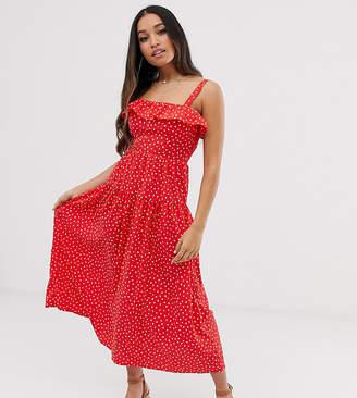Vero Moda Petite polka dot smocked maxi dress