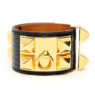 Hermes Collier de chien Black Exotic leather Bracelets