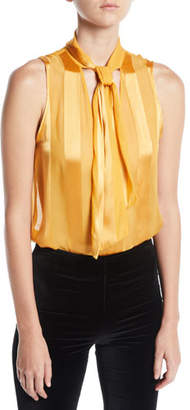 Alice + Olivia Gwenda Sleeveless Paneled Tie-Neck Blouse