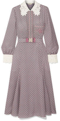 Fendi Printed Guipure Lace-trimmed Silk Midi Dress - Pink