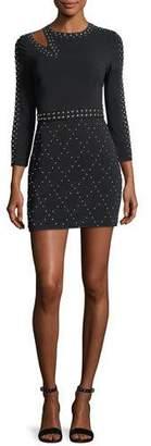 A.L.C. Taraji Long-Sleeve Studded Fitted Mini Dress