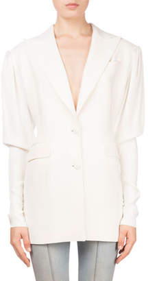 Magda Butrym Bremen Button-Front Fitted-Sleeve Blazer with Pearlescent Cuffs