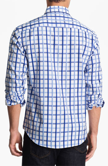 Bugatchi Shaped Fit Sport Shirt (Tall) Classic Blue Large