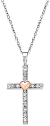 Macy's Diamond Two-Tone Cross Pendant Necklace (1/10 ct. t.w.) in Sterling Silver with 18k Rose Gold-Plated Sterling Silver Accent