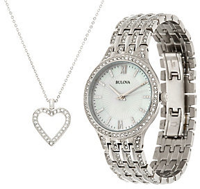 Bulova Ladies Stainless Steel Crystal Watch and Necklace Set $425 thestylecure.com