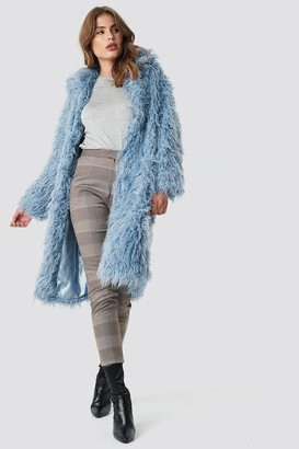 NA-KD Faux Fur Long Jacket Black
