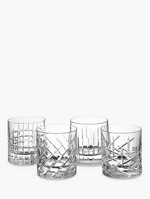 John Lewis & Partners Cut Crystal Glass Tumbler, Assorted Designs, Set of 4