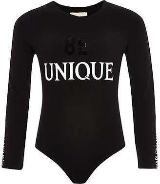 River Island Girls RI Active black 'be unique' bodysuit