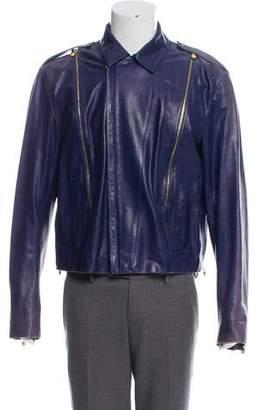 Gianni Versace Leather Zip-Up Jacket